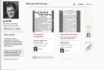Profile page on Houston Herald Archive